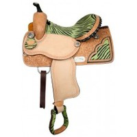 16 inch Double T barrel saddle, saddle with Lime Green Zebra print on Skirt Seat and Conchos