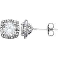 Sterling Silver White Sapphire & .015 CTW Diamond Halo-Style Earrings