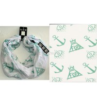 Licensed cool Fall Out Boy FOB Eye Crown Logo Print Lightweight Sheer Infinity Neck Scarf NEW