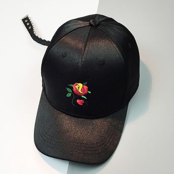 Embroidery Rose Hip Hop Flat Hat