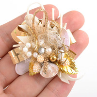 Handmade decorative element blank for hair clip or brooch fancy accessory
