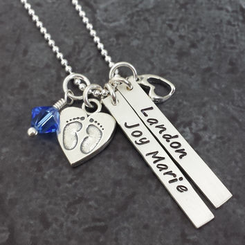 Two Tag Necklace with Baby Feet Charm