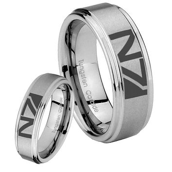 His Hers N7 Design Step Edges Brushed Tungsten Men's Wedding Band Set