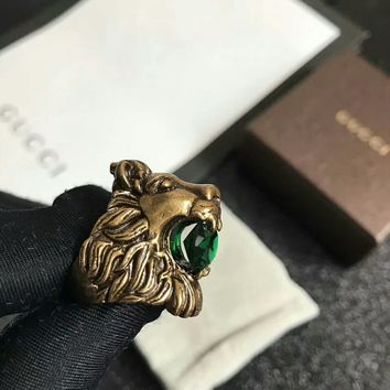 Gucci Sapphire and brass lion head Noble High 2018 New Serpenti ring AAAA diamond drill hollowed out Antique tidal bronze
