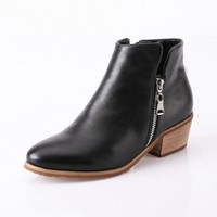 Chunky Heel Cowboy Moto Boots With Side Zip