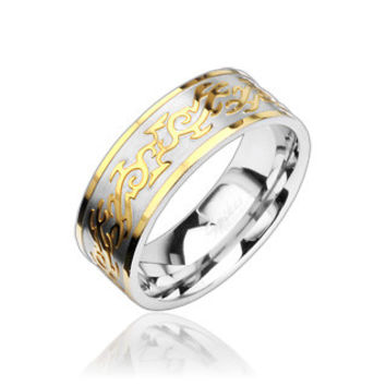 Fire Tribal – Classy High Shine Stainless Steel and Intricate Gold Tribal Design Ring