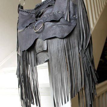 Anchor gray / cold blue  leather fringe bohemian boho unique bag fringes  hippie hippy gypsy asrtisan raw edges oversized silver ring