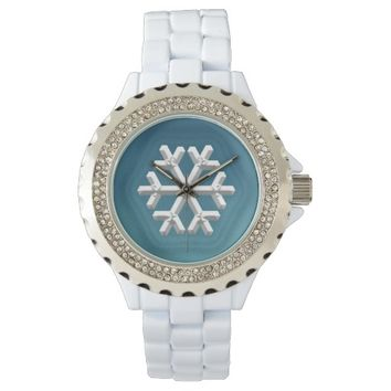 Raised Snowflake on Blue Background Watch