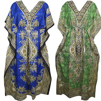 Mogul Interior 4Pc Womens Caftan Boho Maxi Dress Resort Wear Lounger Coverup One Size