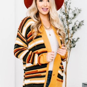 Mustard Color Block Knitted Cardigan