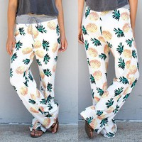 Womens Pineapple Casual High Waist Pants