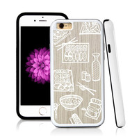 iPhone 6 case Sushi in Light Wood Texture with hard plastic & rubber protective cover