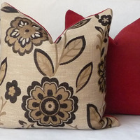 """20"""" Black and Gold Large Floral Pattern Contemporary Pillow Cover with Red Chenille Backing"""