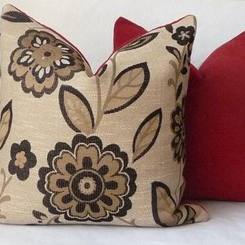 "20"" Black and Gold Large Floral Pattern Contemporary Pillow Cover with Red Chenille Backing"