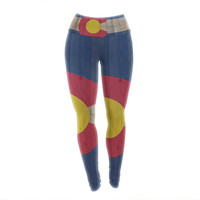 "Bruce Stanfield ""Flag of Colorado"" Blue Red Yoga Leggings"
