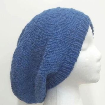 Slouchy beanie hat blue in pattern tracks 5344