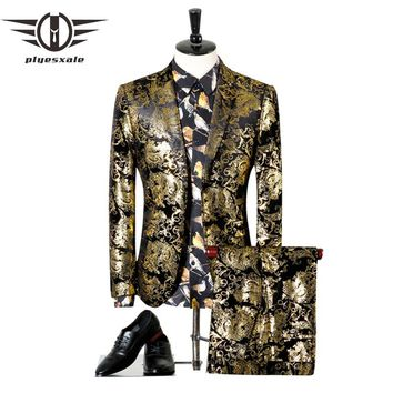 Men Suits For Wedding Luxury Black Gold Tuxedo Jacket Designer Prom Suits Latest Coat Pant Designs