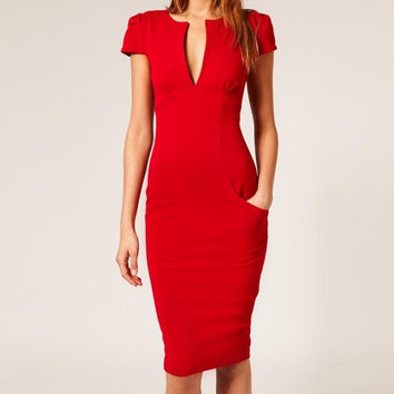 Red Deep V-Neck Midi Dress