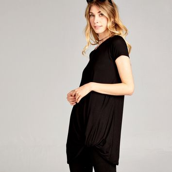 Solid Twist-Front Tunic