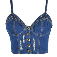 Denim Studded Crop Bustier