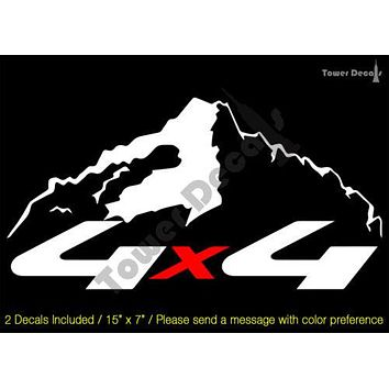 4X4 OFFROAD 2 COLOR VINYL DECAL (4) FITS: CHEVROLET GMC DODGE FORD NISSAN TOYOTA