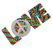 LOVE with Peace Symbol Mosaic Wallhanging