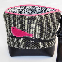 Black Clutch Bag Leather Evening Bag Clutch Purse for Her Gift for Bird Lover, Pink Handbag with Zipper, Black Wristlet Clutch Small Purse