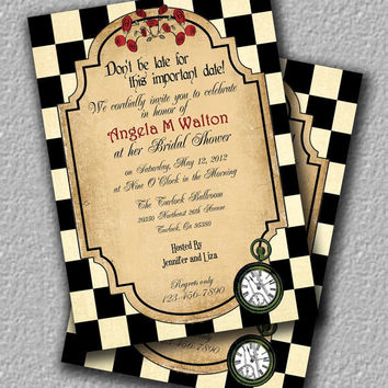 Alice in Wonderland Tea Party Invitation or Brithday Invitation, Bridal Shower Invitation