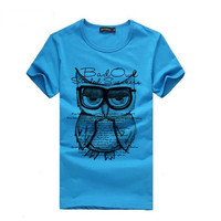 Hot Fashion t shirt Men Summer Casual Clothes Boy Owl Printed Tee Shirt homme Sh