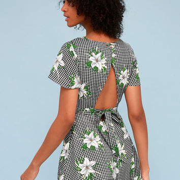 Picnic Please Black and White Gingham Floral Print Dress
