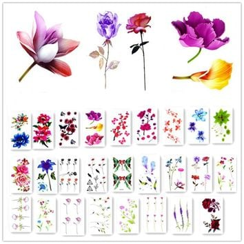 Watercolor Flower Waterproof Temporary Tattoo Stickers for Adults Kids Body Art Fake Tatoo for Women Men Tattoos