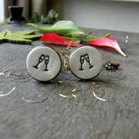 Celebration Gift Ceramic Wedding Men Cuff Links Novelty Gift Porcelain CuffLinks Father Boss Coworker Gift Red Green Holly Pottery