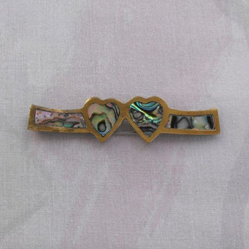 Sterling Silver Hair Barrette Hearts Inlaid Abalone Vintage Sweetheart Jewelry