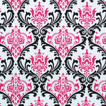 PREMIER PRINTS FABRIC - Candy Pink Black and White Madison Damask Twill - Home Decor Fabric By The Yard