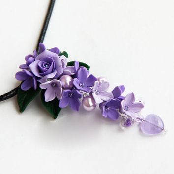 Floral Pendant, Flowers necklace, LILAC DREAMS, polymer clay flower, Polymer clay jewelry, Lilac pendant, gift for ner, gift for woman