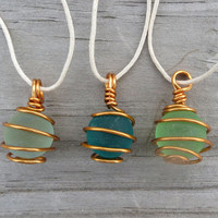 Sea Glass Marble Necklace Pick Your Color by Wave of LIfe