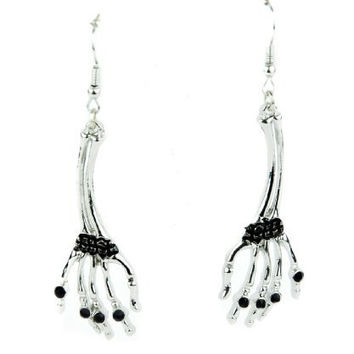 Hanging Skeleton Hands Earrings with Black Stone Cosplay