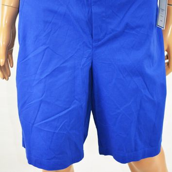 Charter Club Women's Stretch Blue Classic D-Ring Mid Rise Bermuda Shorts 16
