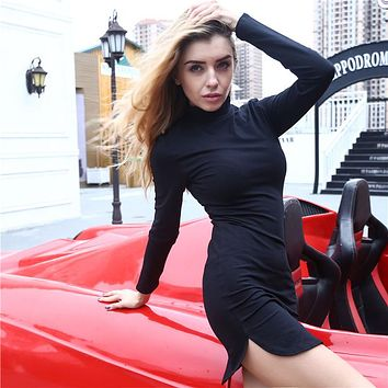 Women Simple Solid Color Bodycon Long Sleeve Turtleneck Split Mini Dress