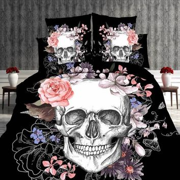 High Quality Skull 3D Oil Painting Duvet Cover Set, 2/3/4pcs Bedding Set Comfort Cover Set Home&Living Bed Sheet/ Pillowcases /Q