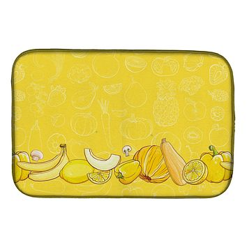Fruits and Vegetables in Yellow Dish Drying Mat BB5134DDM