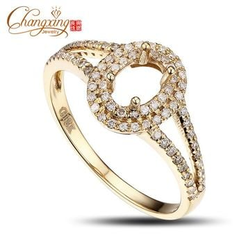 4x6mm Oval 14k Gold Pave .43ct Diamond Semi Mount Ring Free Shipping