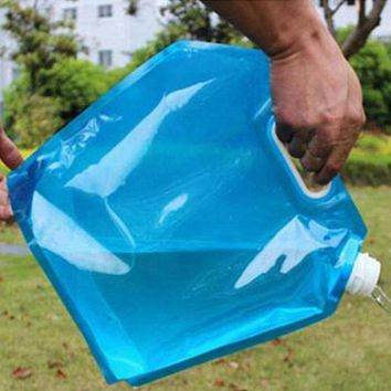 VONL8T Hot Sale 5L Food Grade PE Collapsible Foldable Water Bag Camping bag Storage Hand Lifting Hiking Survival Bottle Blue Color