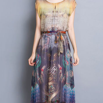 Ethnic Print Tied-Up High Waist Midi Dress