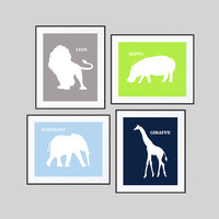 Safari Animals, CUSTOMIZE YOUR COLORS, 8x10 Prints, set of 4, Nursery Wall Art Navy Gray Lime Green Light Blue, Lion Elephant Giraffe Hippo,