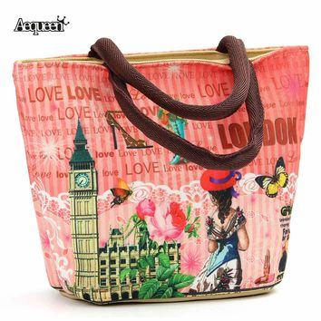 2017 New Fashion Lunch Bag European Large Capacity Storage Boxes Womens Children Thermal Vintage Style Zipper Makeup Bag Tote