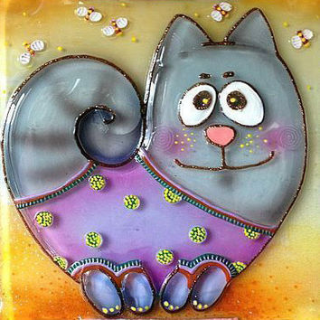 Handmade LOVELY CAT glass fusing techniques gift lovers mothers sister family amulet talisman