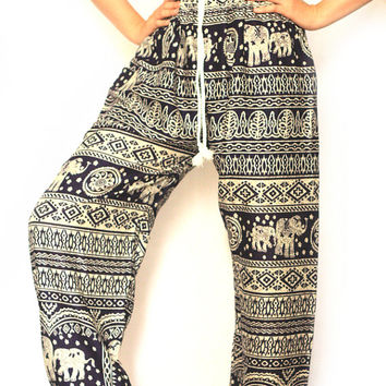 Black palazzo pants baggy pants bohemin style Aladdin Pants black stripe/Yoga pants/Hippie cloths/Harem pants/elephant thai pants/boho pants
