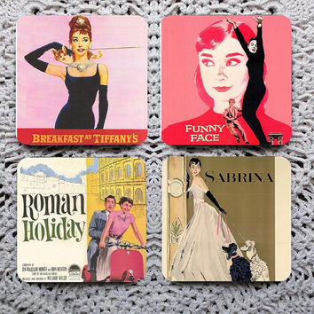 Breakfast at Tiffany's -- Audrey Hepburn Mousepad Coaster Set