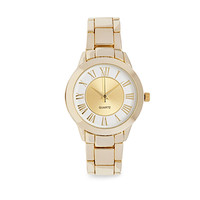 FOREVER 21 Two-Tone Analog Watch Gold/White One